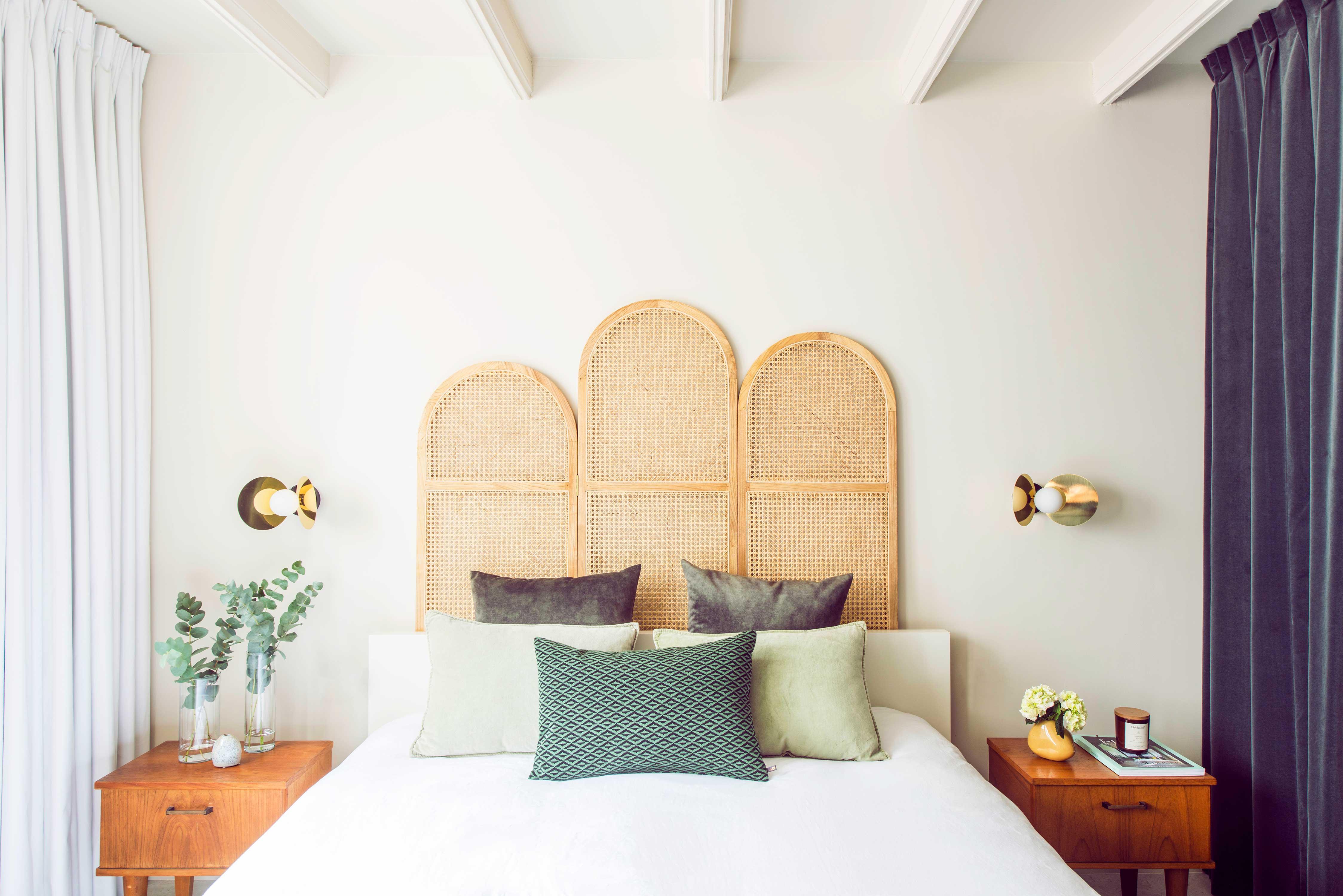 bedroom design studio 34 south rattan atelier areti green vintage velvet curtain