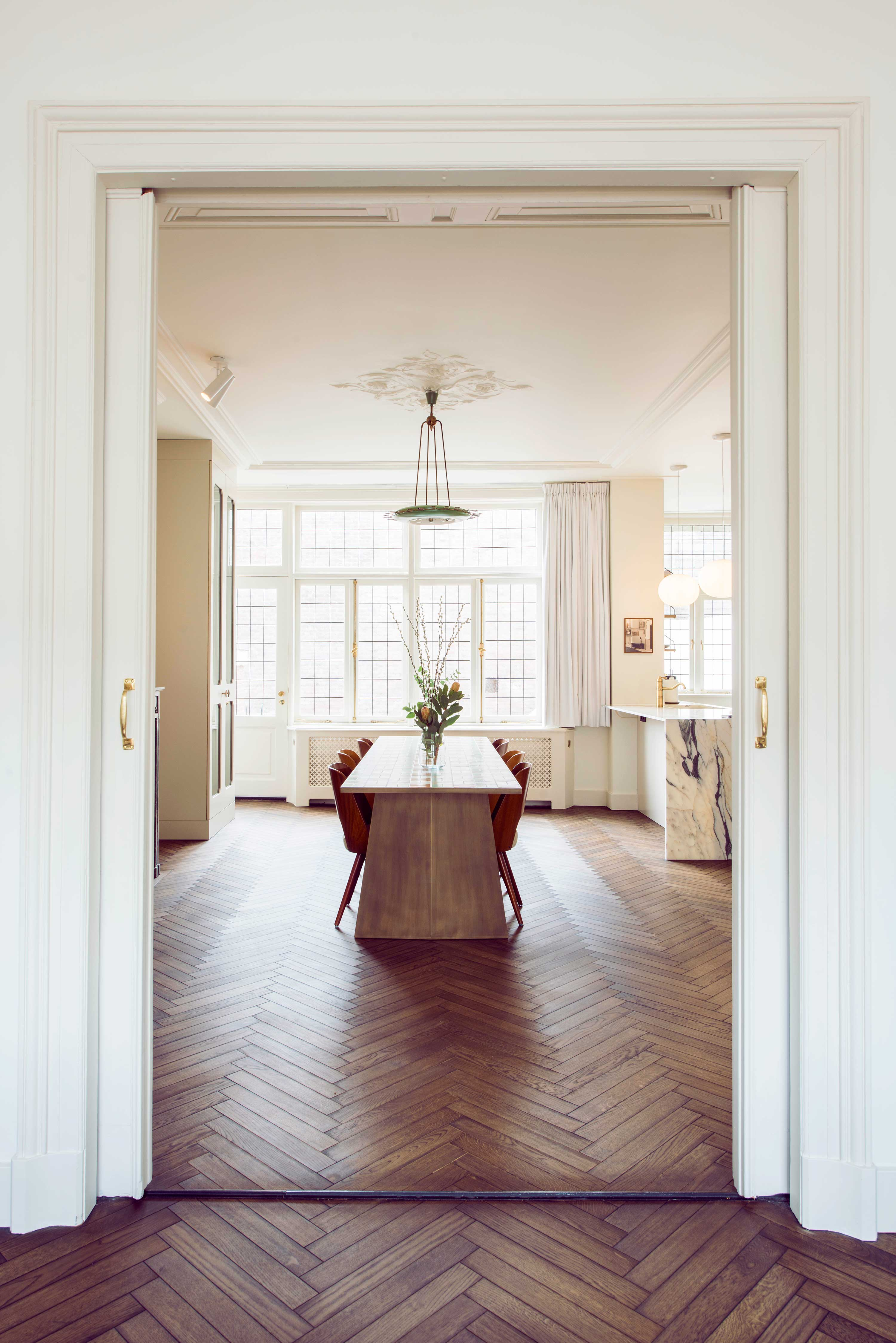 dining room design studio34 south haarlem residence interior design vintage wood herringbone floor